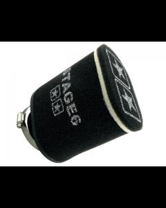 Luchtfilter Stage6 - Dubbel laags - Ovaal / Recht - 70 mm - Zwart (S6-35022/BK)